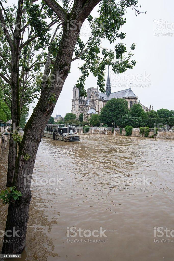 Seine river floods in Paris stock photo
