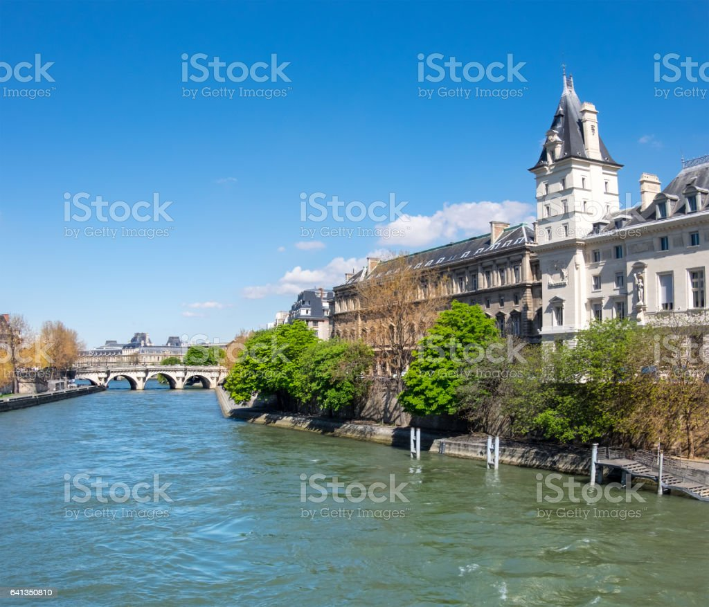 Seine river in Paris, France, on a bright sunny day in Spring stock photo