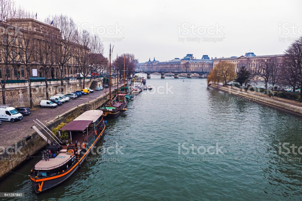 Seine river in Paris, France stock photo