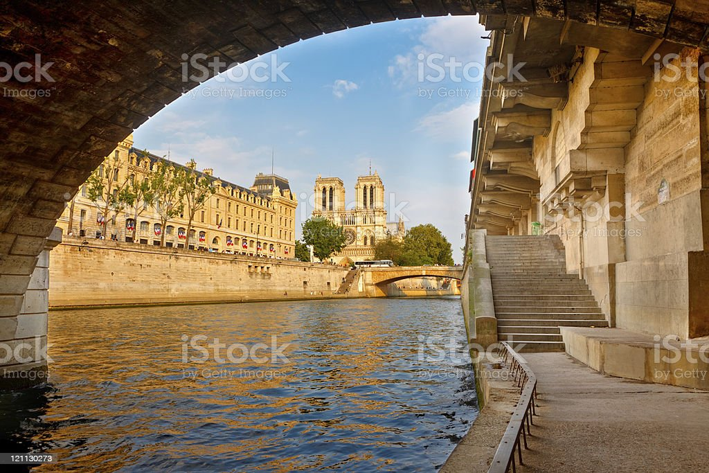 Seine river near Notre Dame stock photo