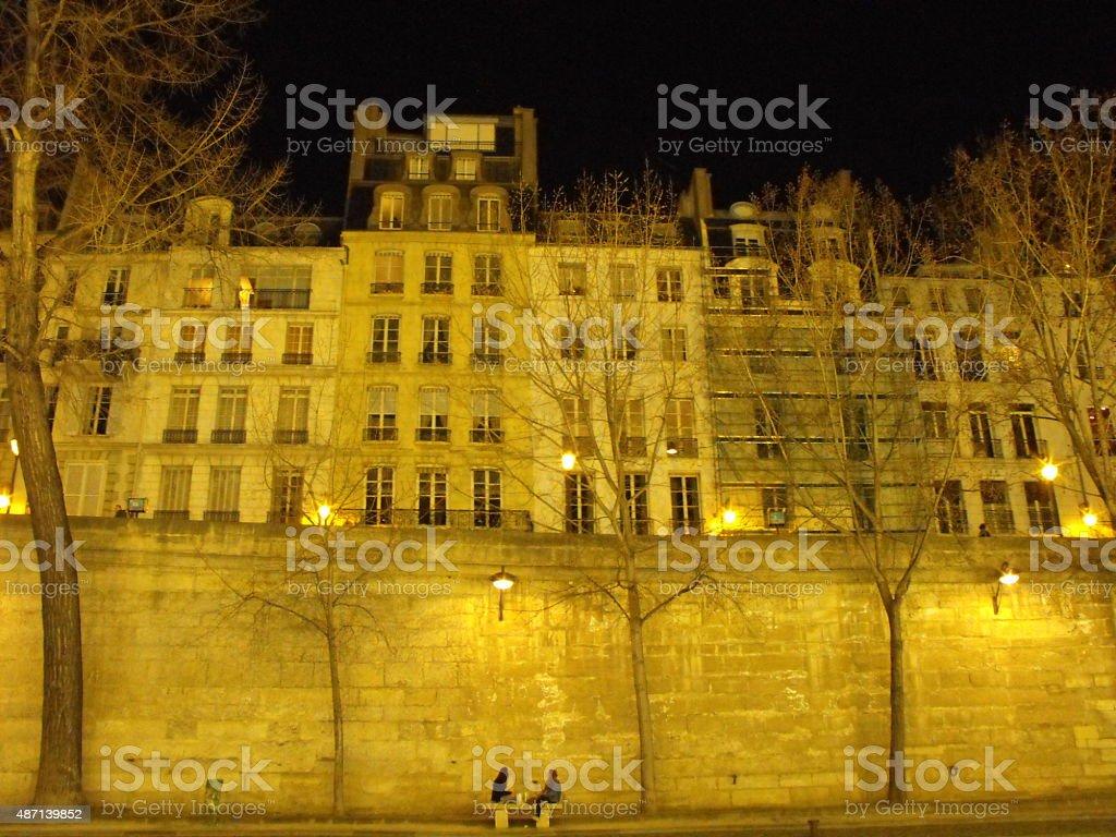 Seine River, Paris, nightscape stock photo