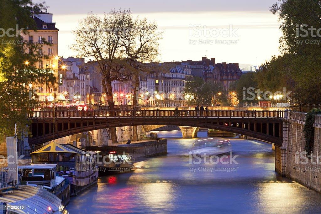 Seine River & Pont au Double at Dusk, Paris, France stock photo