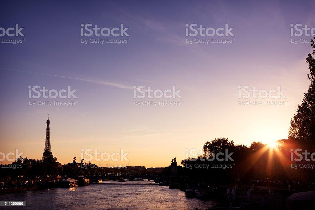 Seine river spring landscape stock photo