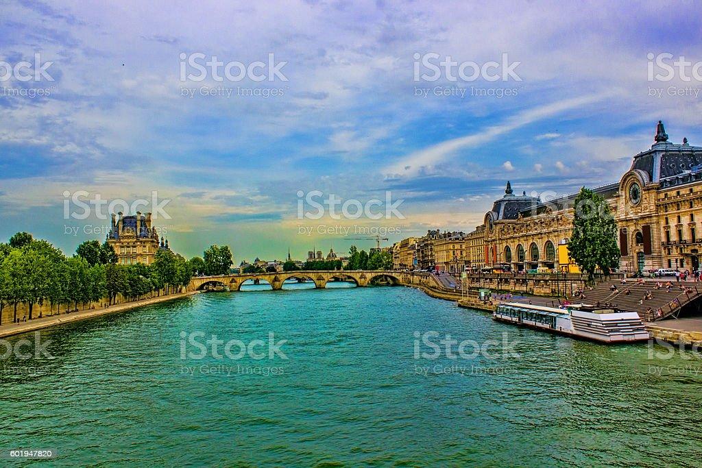Seine river via Pont des arts stock photo