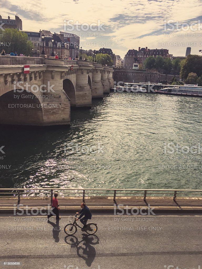Seine riverbank in Paris, France stock photo