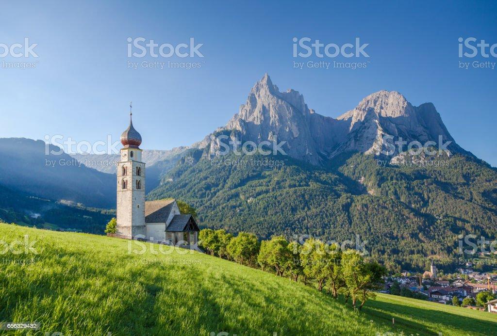 Seis am Schlern, Dolomites, South Tyrol, Italy stock photo