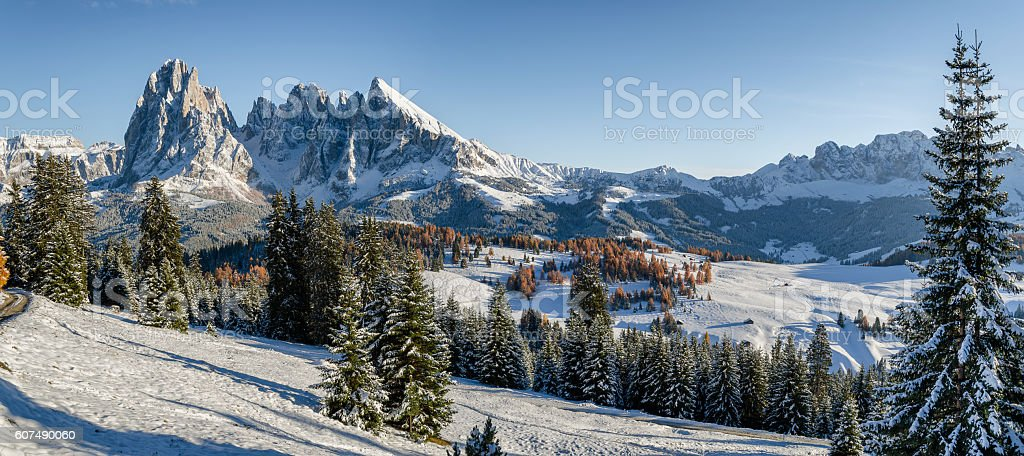 Seiser Alm, Dolomites meadow in winter stock photo