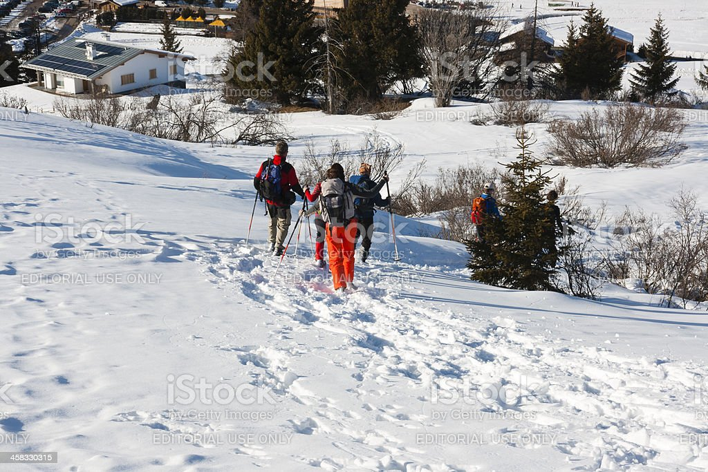 Seiser Alm (Dolomites) - Group of people with snowshoes stock photo