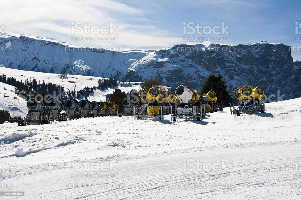 Seiser Alm (Dolomites) - Group of snow gun royalty-free stock photo