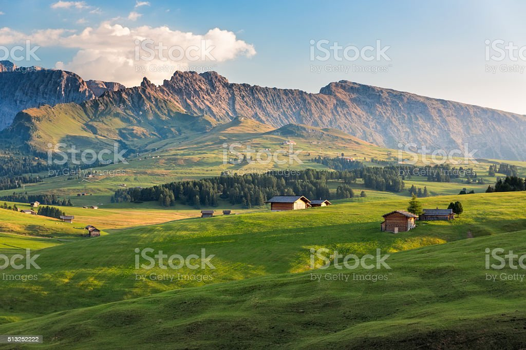 Seiser Alm in afternoon light, South Tyrol, Italy stock photo