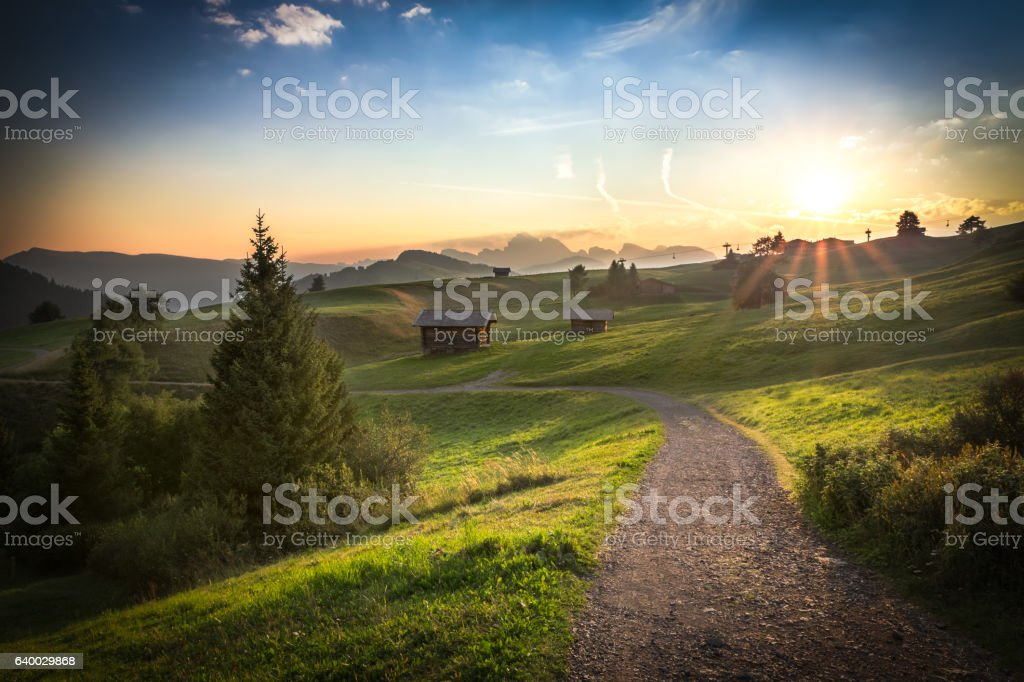 Seiser Alm in morning light, Dolomites, Italy stock photo