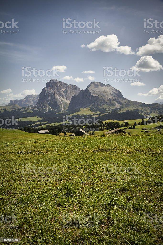 Seiser Alm (Dolomites) - Panoramic view Plattkofel and Langkofel stock photo