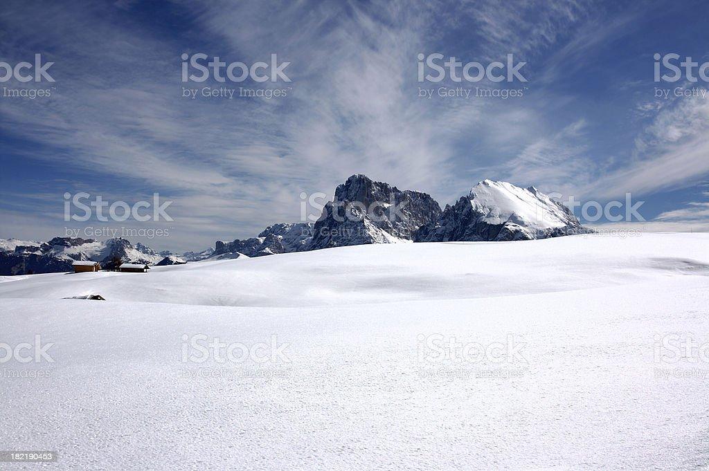 Seiser Alm (Dolomites) - Plattkofel and Langkofel stock photo