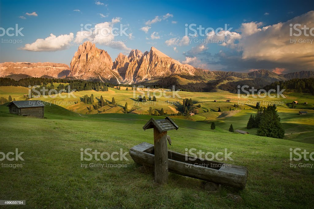 Seiser Alm with Langkofel Group before sunset, South Tyrol, Italy stock photo
