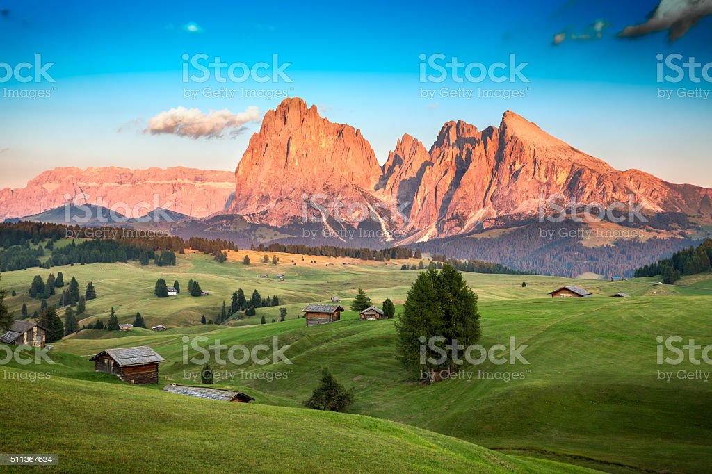 Seiser Alm with Langkofel Group, South Tyrol, Italy stock photo