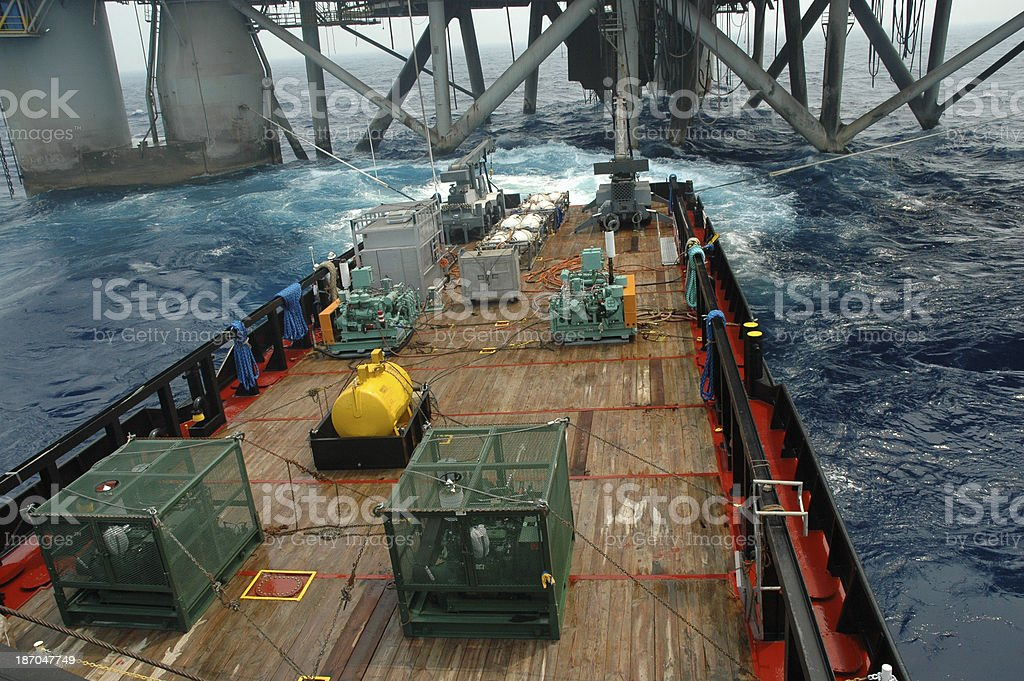 Seismic blasting at rig. stock photo