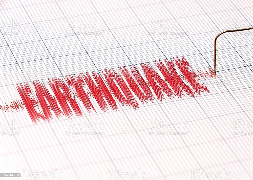Seismic Monitor Line showing EARTHQUAKE stock photo