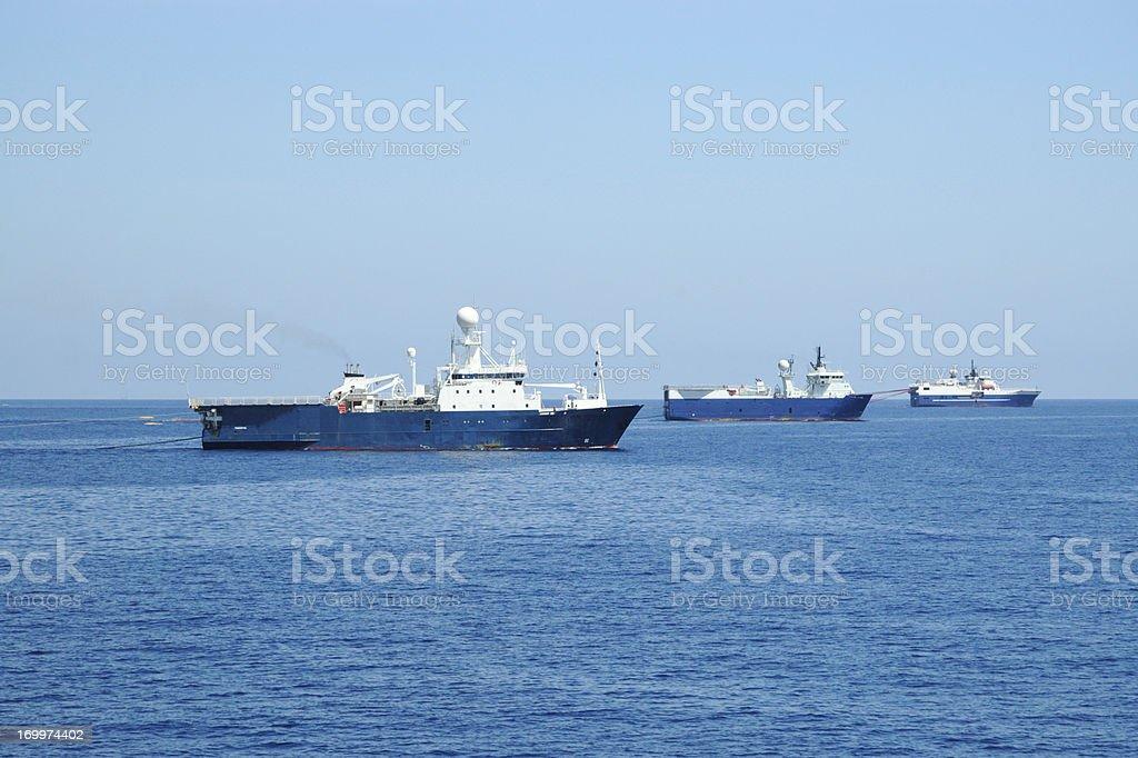 Seismic Survey Fleet royalty-free stock photo