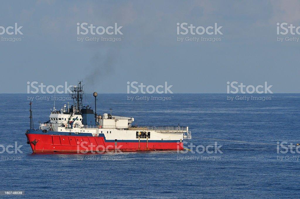 Seismic survey vessel towing equipment stock photo