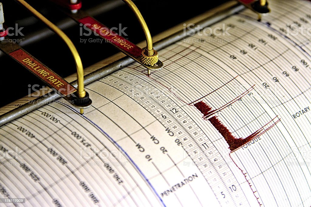 Seismograph for drilling stock photo
