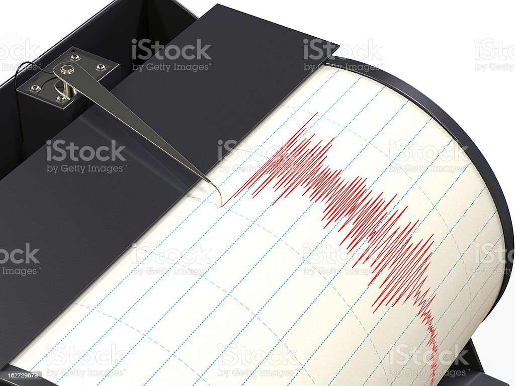 Seismograph instrument recording ground motion during earthquake royalty-free stock vector art