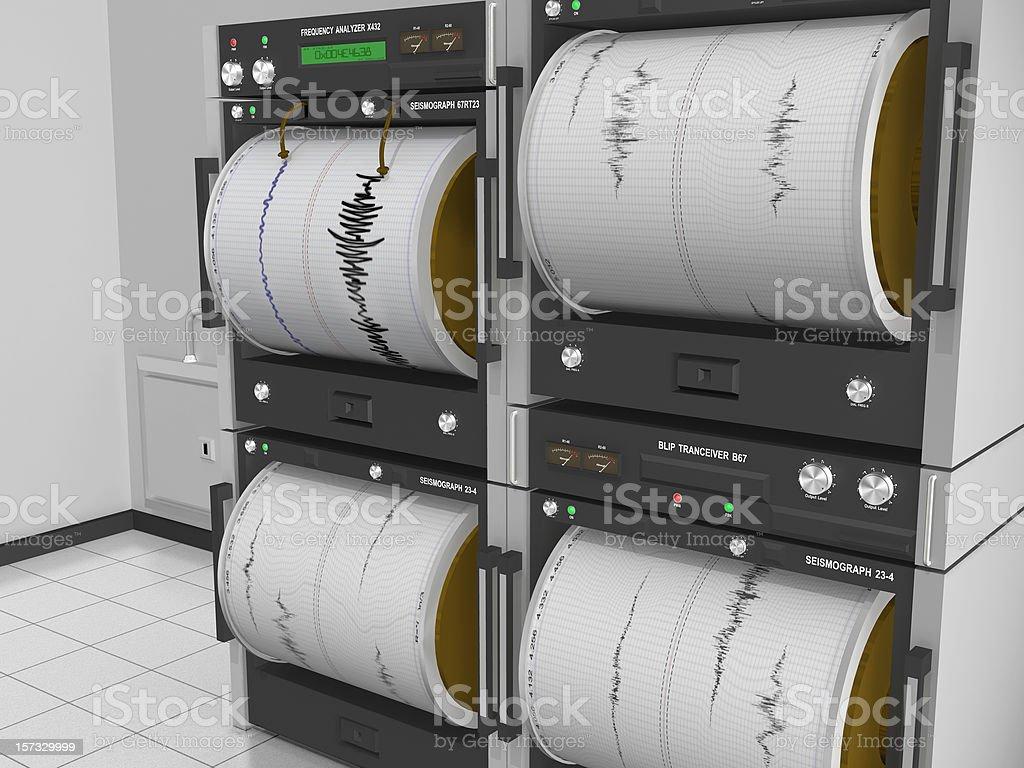 Seismograph Machine Room Angle View stock photo