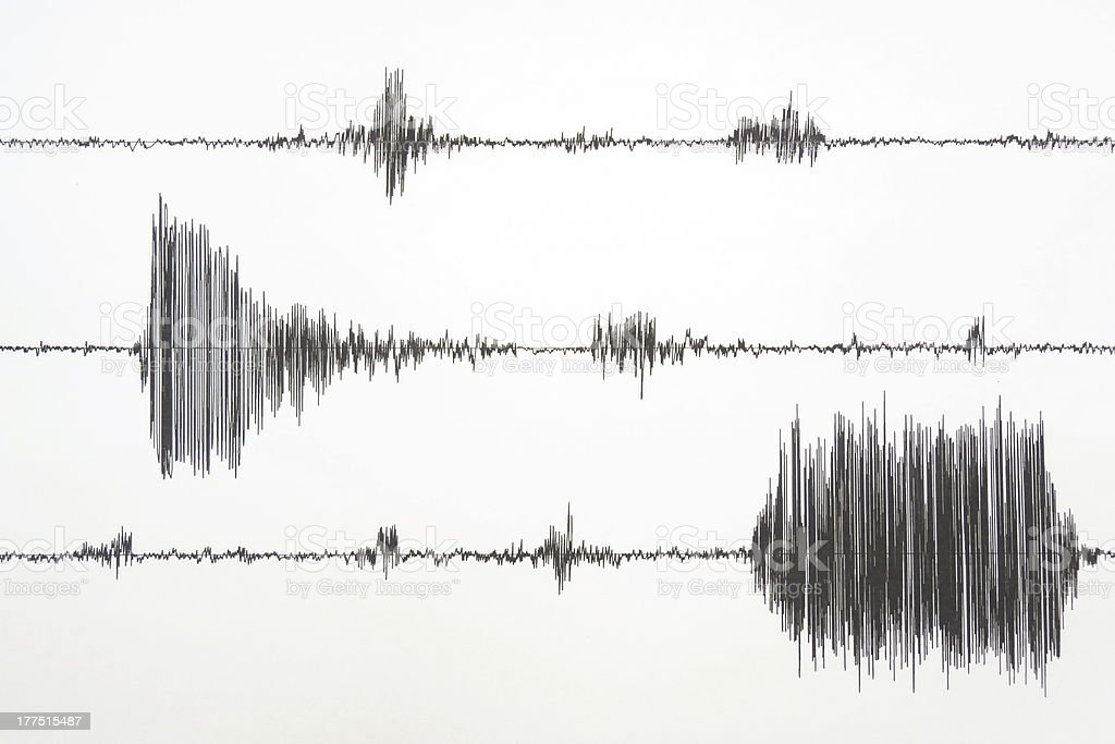 Seismograph measuring an earthquake stock photo