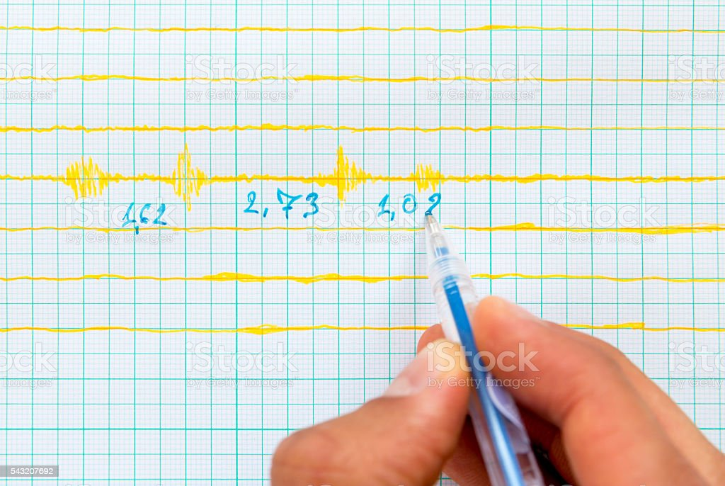 Seismological device sheet - Seismometer, pen stock photo