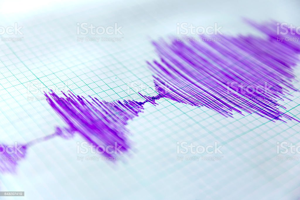 Seismological device sheet - Seismometer stock photo