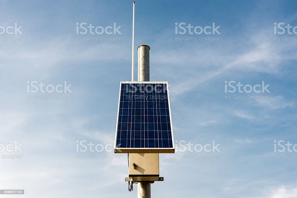 seismological equipment and solar panel stock photo