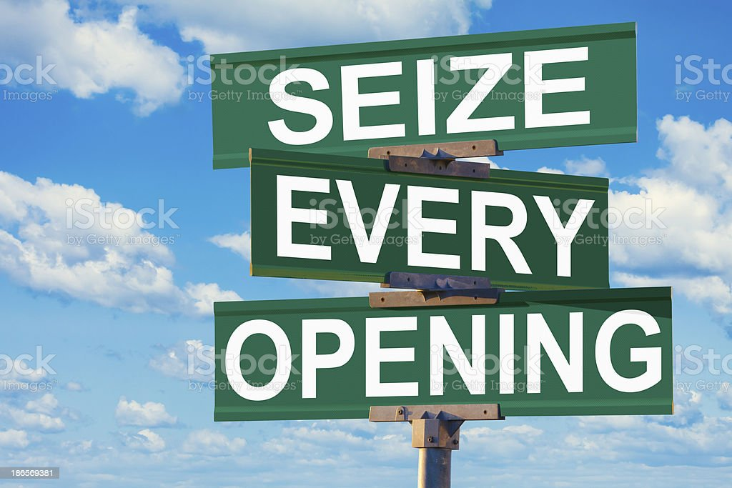 Seize Every Opening Street Intersection Sign royalty-free stock photo