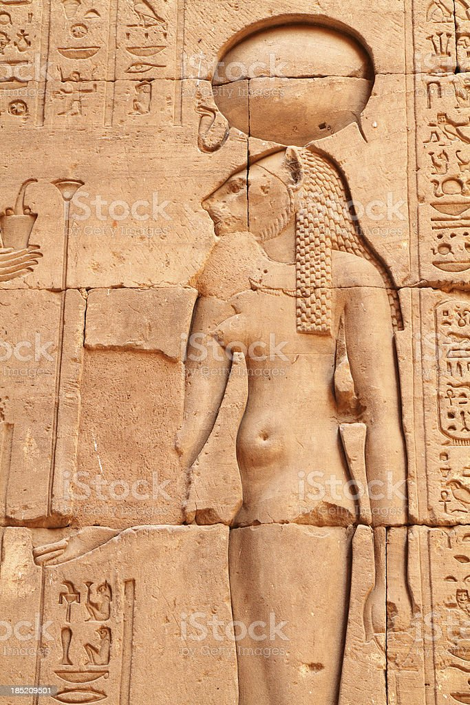 Sekhmet Wall Relief,  Temple of Horus, Edfu, Egypt stock photo