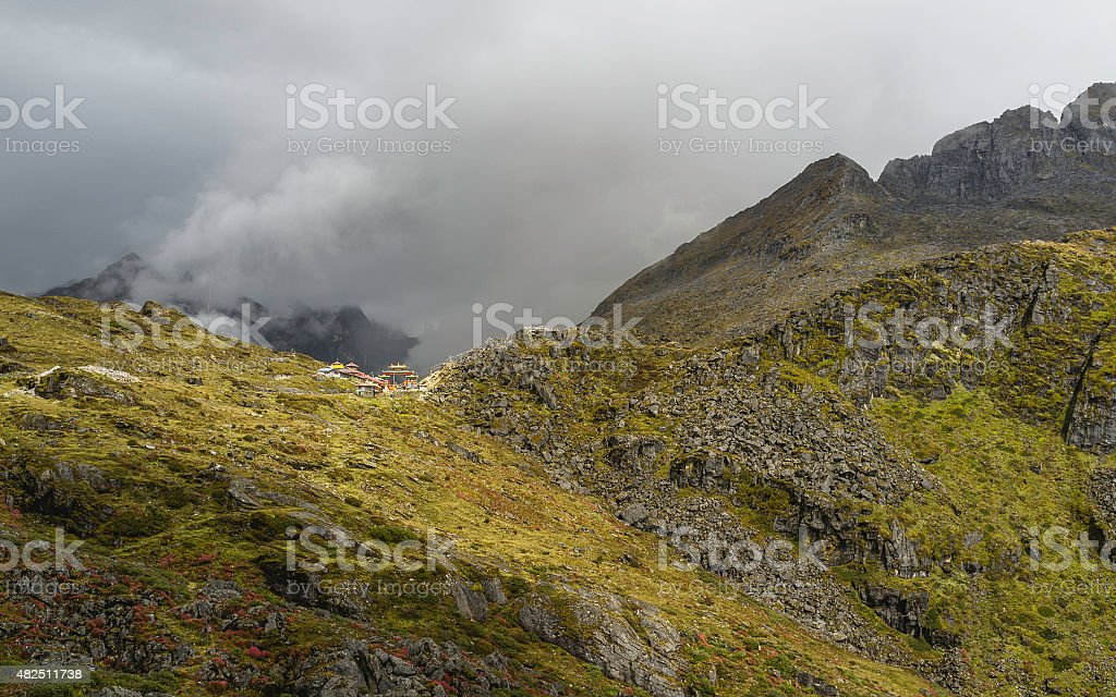 Sela Pass on a stormy morning, Arunachal Pradesh, India. stock photo