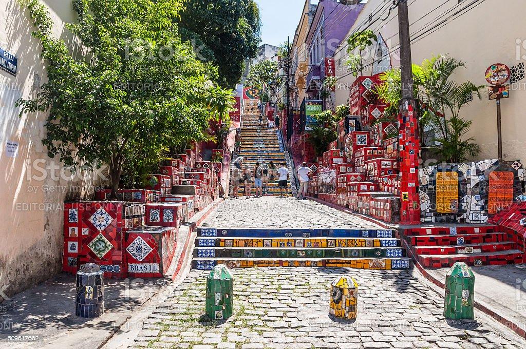 Selaron Stairs in Lapa, Rio de Janeiro stock photo