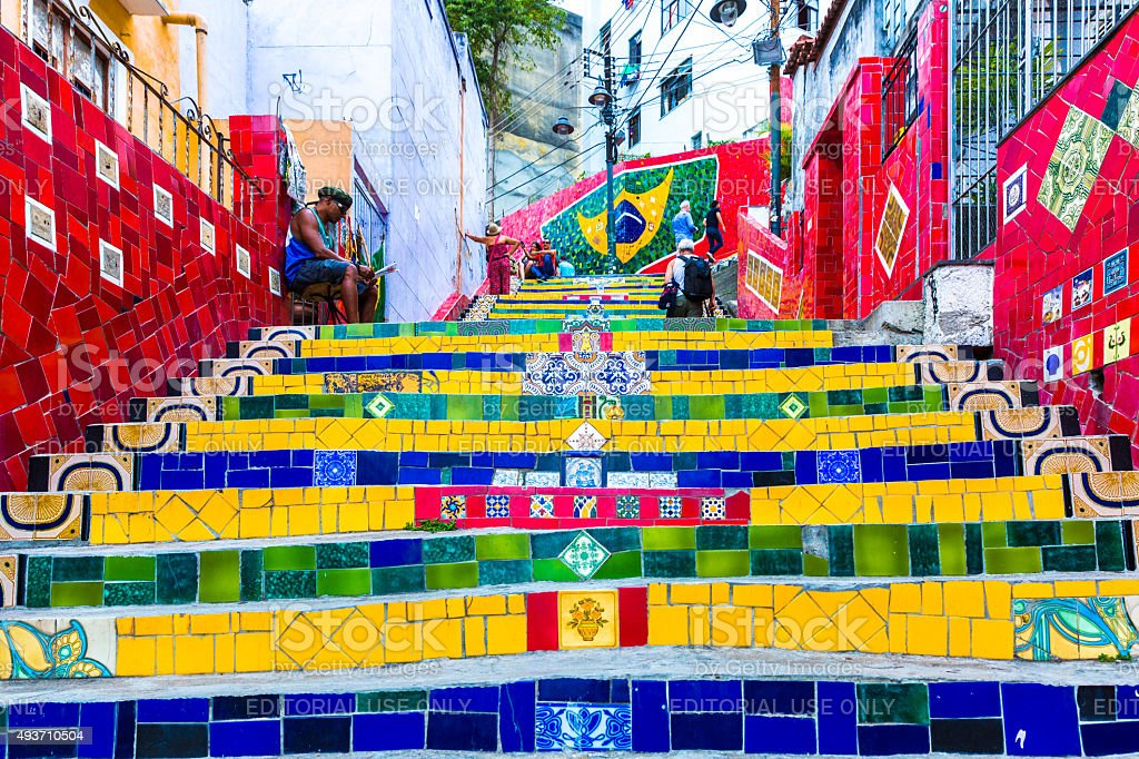 Selaron stairway in Rio de Janeiro, Brazil stock photo