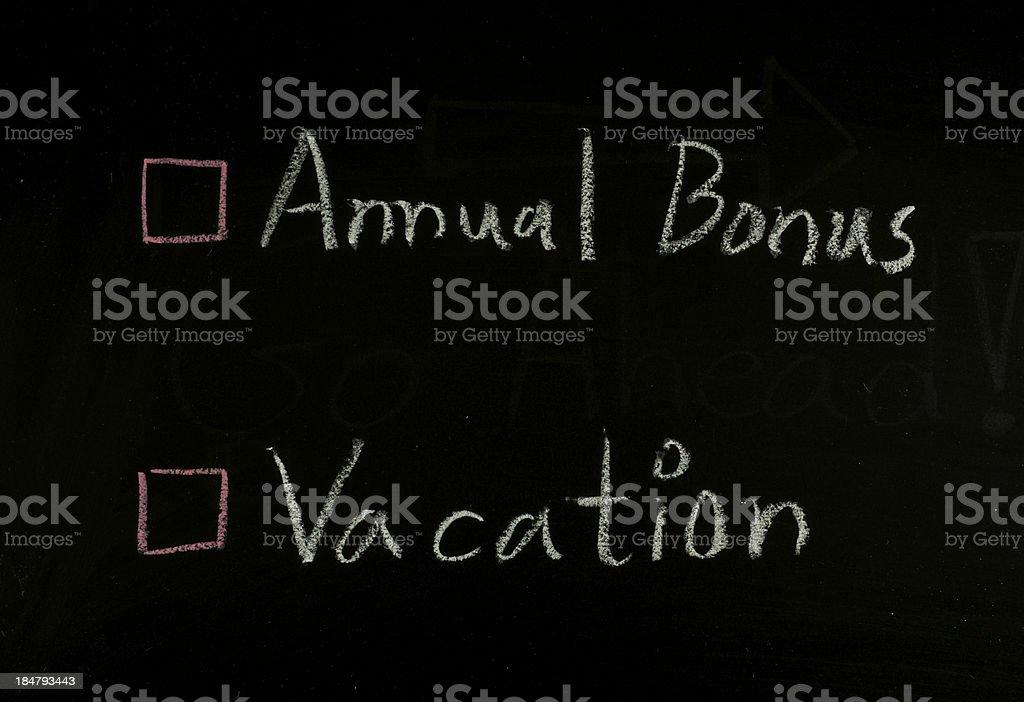 select annual bonus or vacation royalty-free stock photo