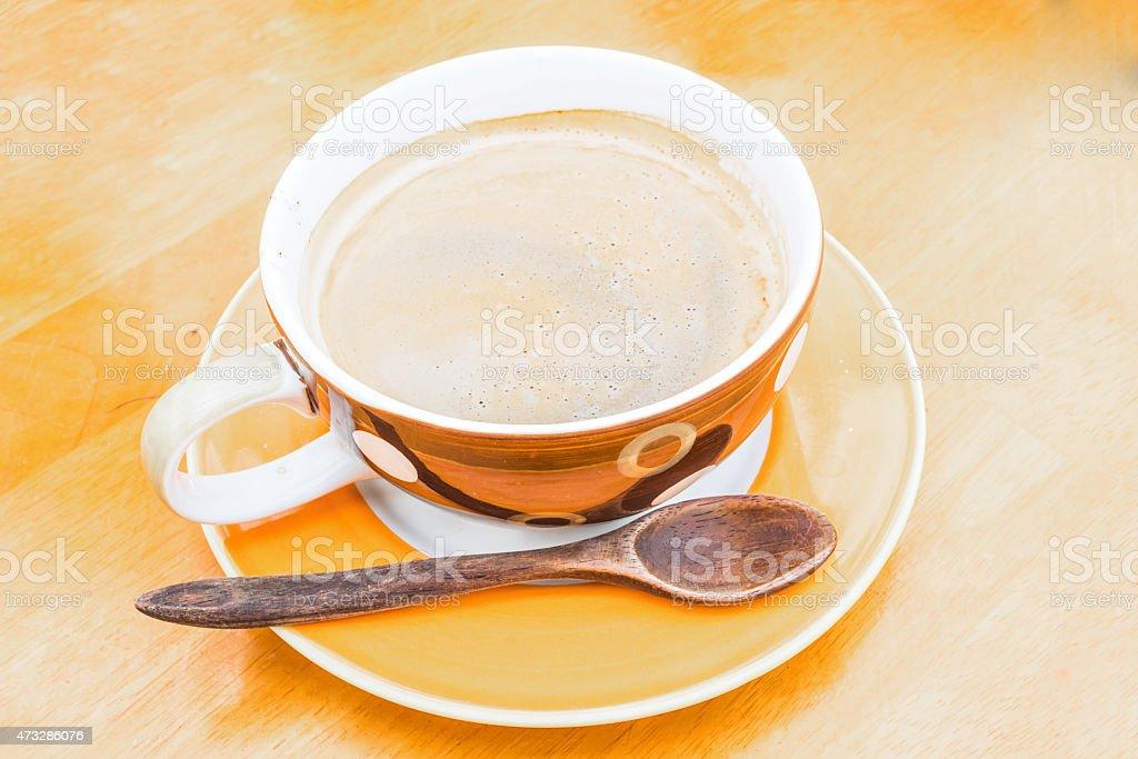 Ausgewählte Fokus von Kaffeetasse mit Löffel Lizenzfreies stock-foto