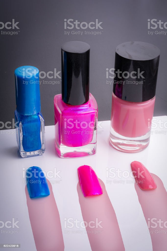 select your favorite color painted artificial nails op drawn fingers stock photo