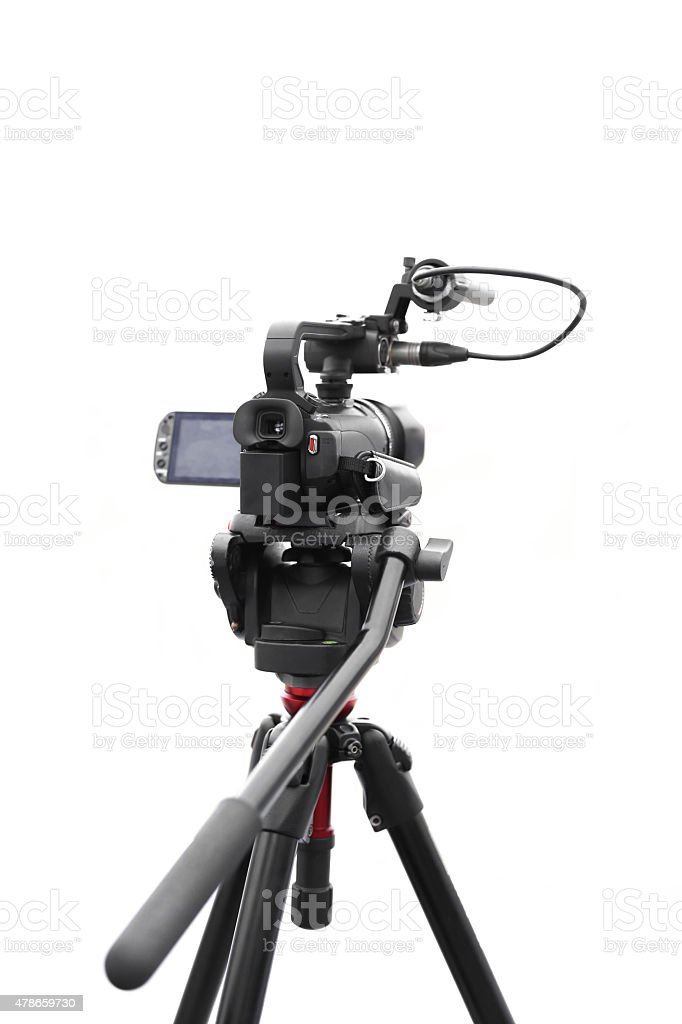 Selected focus camcorder in white background stock photo