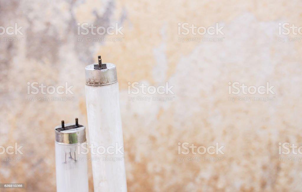 Selected focus fluorescent light tube. stock photo