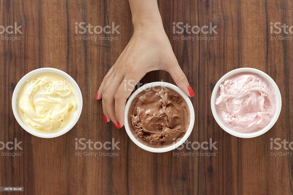 Selecting ice cream stock photo