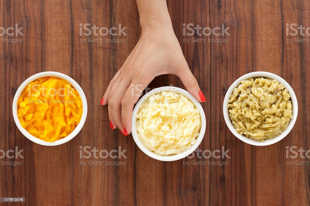 Selecting purees stock photo