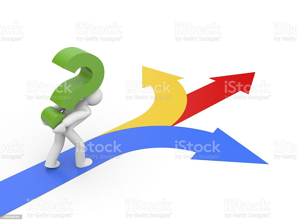 Selecting the right direction stock photo