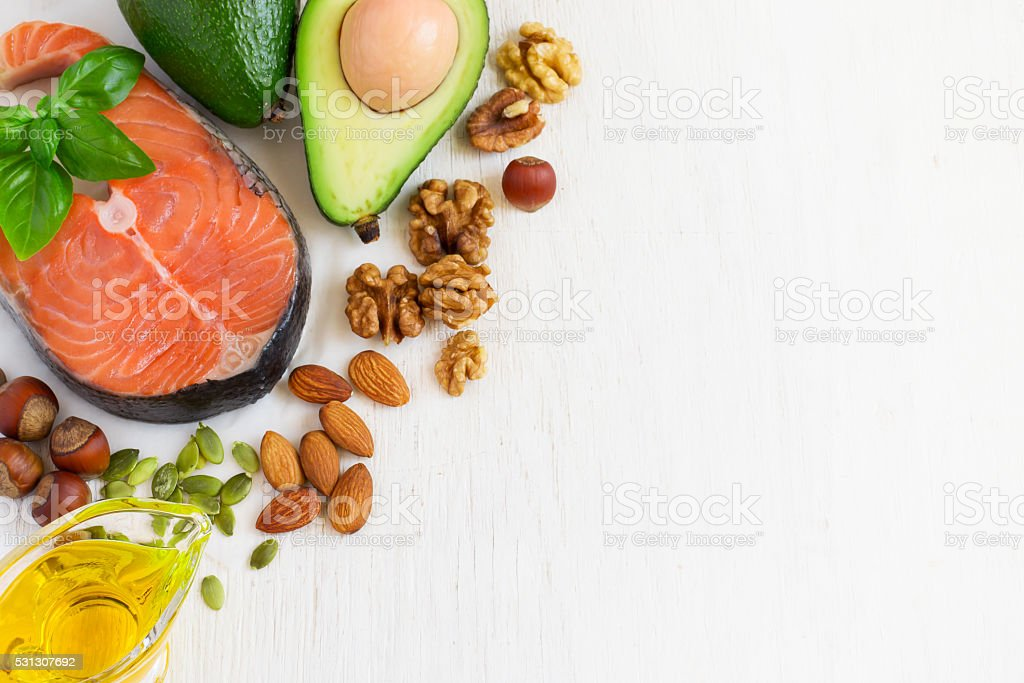 selection Food sources of omega 3 and healthy fats stock photo