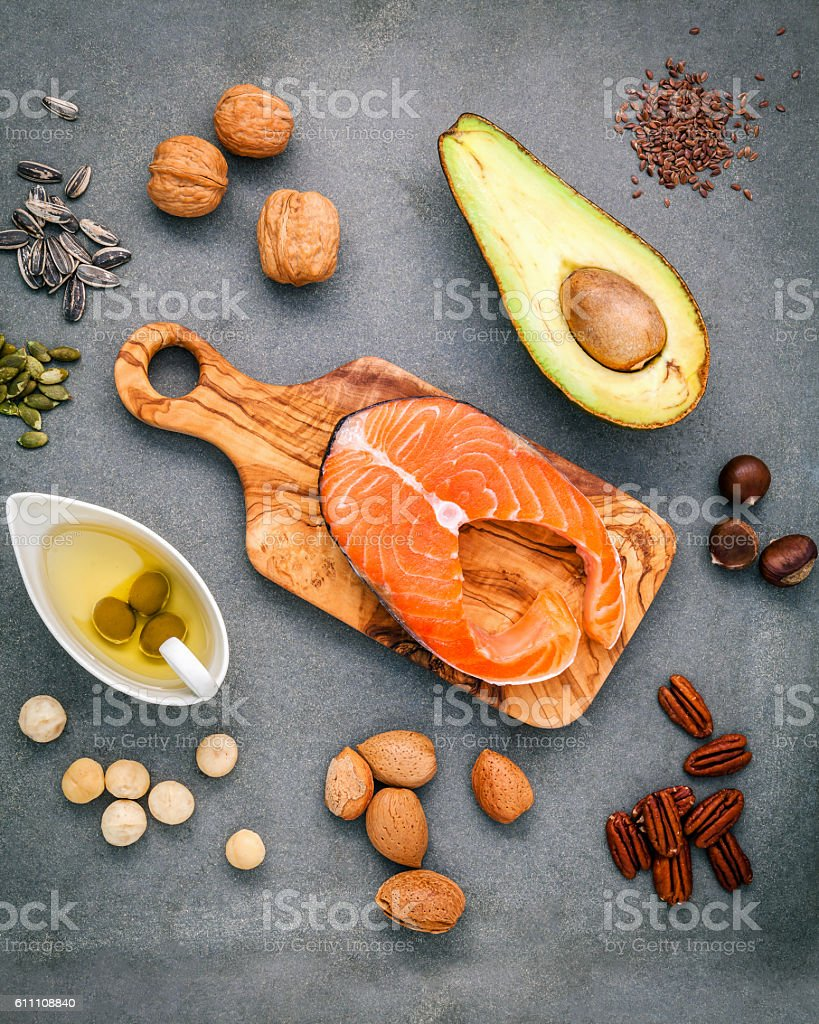 Selection food sources of omega 3 and unsaturated fats. stock photo