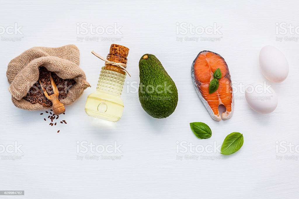 Selection food sources of omega 3 and unsaturated fats. Super stock photo