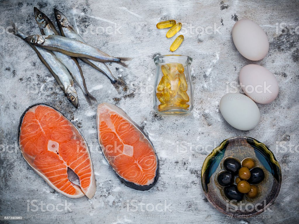 Selection food sources of omega 3 and unsaturated fats. Superfoo stock photo