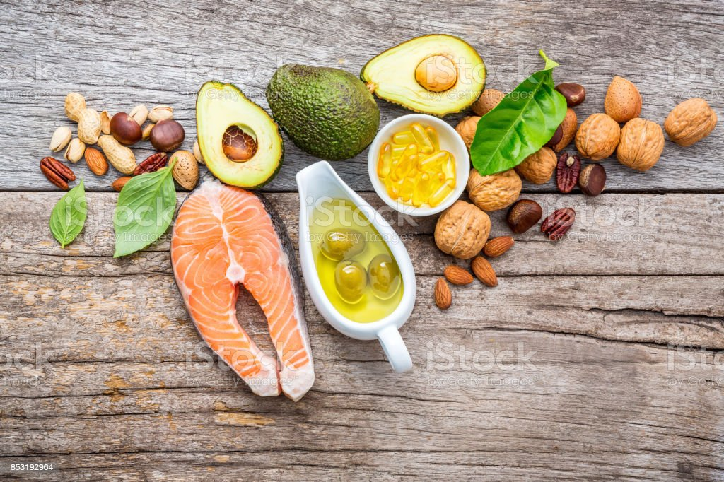 Selection food sources of omega 3 and unsaturated fats. Superfood...