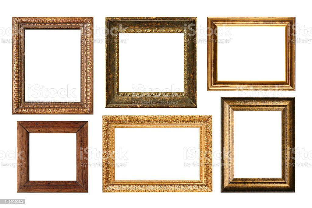 Selection of 6 antique wooden picture frames royalty-free stock photo