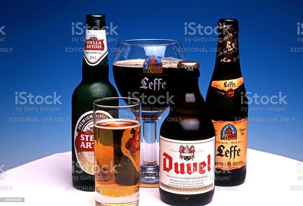 Selection of Belgian Beer. stock photo